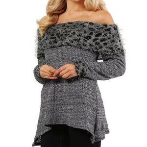 Sweaters - Convertible Leopard Trim Sweater, Plus Size     2H